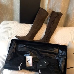 """Saint Laurent NEW Suede """"Babies"""" Thigh High Boots"""